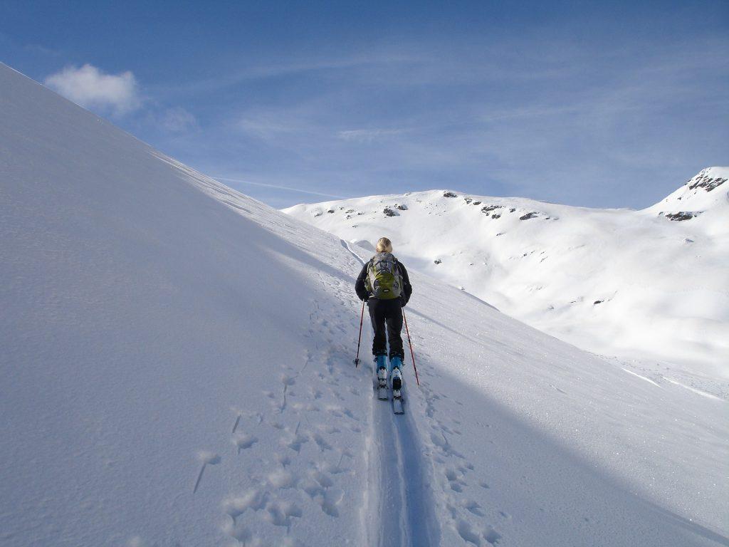 Un homme de dos qui skie seul sur une montagne enneigée